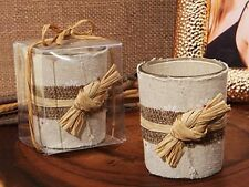 Rustic Burlap Raffia Tea Light Candle Holder Country Bridal Wedding Favor