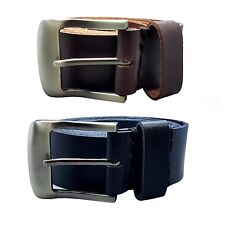 "MENS 1.5"" REAL FULL GRAIN LEATHER BELTS BLACK BROWN BELT SILVER BUCKLE"