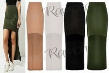 New Women Dip Long Back Hi Low Stretchy Plain Elasticated Waist Party Maxi Skirt