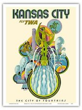 Kansas City Missouri USA Vintage Airline Travel Art Poster Print