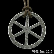 Official ROTHFUSS Kingkiller Chronicle TEHLU'S IRON WHEEL Necklace, Name of Wind