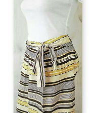 Striped Bow Tie Belted Mid Skirt 100% Cotton Tex by Max Azria Size 6 and 10 NWT