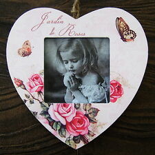 HEART Shaped PHOTO FRAME ROSE BUTTERFLY Pink Wall Hanging JARDIN LE ROSES