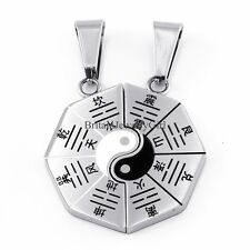 Mens Womens Couple Stainless Steel Ying Yang BA GUA Pendant Chain Necklaces