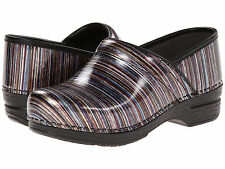 Dansko PRO XP STRIPED PATENT Womens Grey Leather Slip Resistant Clogs Shoes