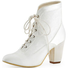 HC1528 High Heel Boots Closed Toe Satin Lace-up Wedding Bridal Pumps Shoes