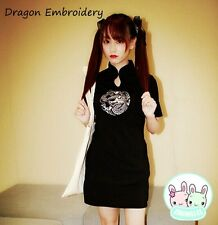 Vintage Dragon Embroidery Black Cheongsam Punk Chinese Qipao Dress Lolita Dark