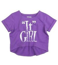 NWT 77kids by American Eagle Girls Size 4 Years Purple Active Crop Tee Shirt Top