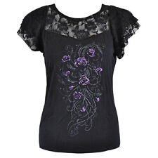 Spiral Direct Womens Gothic Metal Goth Shirt Purple Rose Entwined Lace Black Top