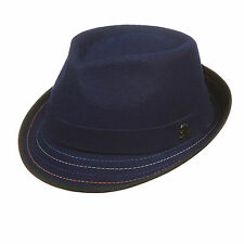 STACY ADAMS Men Navy Fedora hat Crushable Wool felt Satin Lining Contrast Stitch
