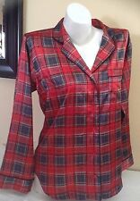 Victorias Secret Afterhours Silky Satin Pajama Top Red Plaid Sz M NWT $69 (A211)