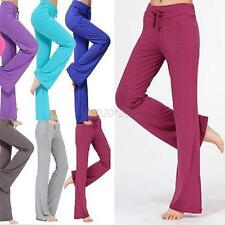 New Womens Yoga Cotton Pants Sports Soft Trousers Exercise Lounge Gym Sweatpants