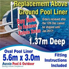 NEW Above Ground Swimming Pool Oval Liner 5.6m x 3.0m & 1.37m deep