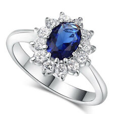 Princess Kate Ring 18K Platinum Plated Blue Cubic Zirconia Wedding Free Shipping