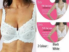 Women Cup Lace Underwired Bra Non Paded Soft Comfort Bra Black & White All Sizes