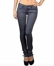 Women's Juniors Comfy Stretchy Low-rise 5 Pocket Skinny Jeans - Grey or Black