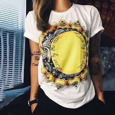 Women Vogue Summer Short Sleeve Casual Loose Cotton Ladies T-Shirt Blouse Tops