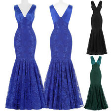 V-neck Lace Formal Long Evening Prom Dress Party Gown Bridesmaid Mermaid Dress