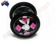 Genuine Playboy 316L Surgical Steel Fake Ear Plug with Bunny on Pink Argyle Logo
