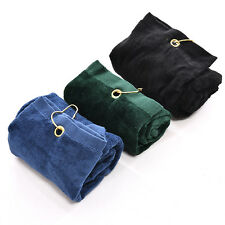 New 40x60cm Golf Tri-Fold Towel With Carabiner Clip Sport Hiking Cotton US9