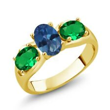 1.60 Ct Mystic Topaz Simulated Emerald 18K Yellow Gold Plated Silver Ring