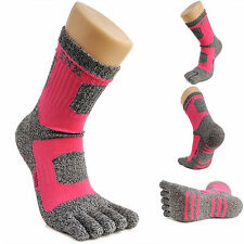 Womens Crew Sports Running Cycling Coolmax Cotton Five Finger 5 Toe Socks PINK