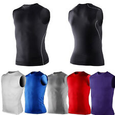 Mens Sport Compression Under Base Layers  Gent Top Tight Sleeveless Skin T-Shirt