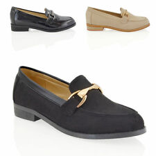 NEW WOMENS FLAT SLIP ON BUCKLE PUMPS LADIES CASUAL WORK MOCCASIN LOAFERS SHOES