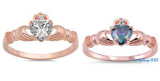 Sterling Silver 925 IRISH HEART SHAPED CLADDAGH DESIGN ROSEGOLD RING SIZES 4-12