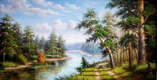 Handmade Modern Landscape Abstract Oil Painting Repro on Canvas Wall Art AFJ307