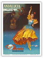 Andalusia Spain Flamenco Vintage Airline Travel Art Poster Print