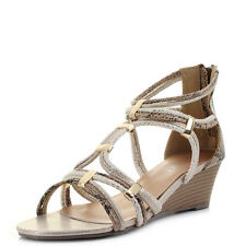 Womens Wedge Rope Gladiator Low Heel Gold Trim Sandals Shoes Shu Size