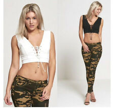 NEW WOMEN LADIES EYELET LACE UP V NECK CASUAL SLEEVELESS CROP TOP SEXY LOOK VEST