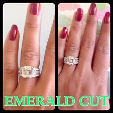 Emerald Cut 4.+CT Fine Jewellery Fine Rings Other Ring Fine.925 St.Silver ITALY