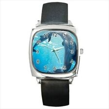 Underwater Dolphins Round & Square Leather Strap Watch