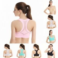 Womens Gym Bra Top Fitness Seamless Racerback Padded Sports Bra Workout Tank Top