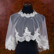 NEW Ivory Crystal Lace Edge Shawl Jacket Wrap Shrug Bolero Cape Bridal Wedding