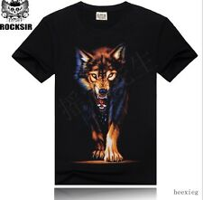 New European Mens Rock Short Sleeves T-shirts Loose Fit Cotton Trendy Tops Size