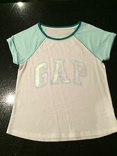 GAP Girls T-Shirt Sequin Logo T-Shirt White & Mint Green XL (12 yr olds) NWOT