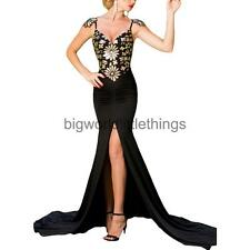 Strappy Floral Sequined Backless High Slit Mermaid Dress Women's Maxi Prom Dress