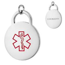 COUMADIN Stainless Steel Medical Alert Round Pendant / Charm, Bead Ball Chain