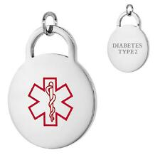 DIABETES TYPE 2 Stainless Steel Medical Round Pendant / Charm, Bead Ball Chain