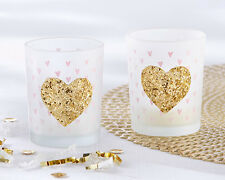 Pink Gold Glitter Heart Votive Candle Holder Girls Birthday Baby Shower Favor