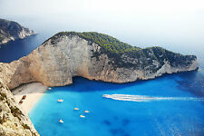Zanti Greece Beach Holiday Greek Island Blue Sea Canvas Pictures Wall Prints