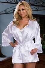 "Plus Size DREAMGIRL White Satin Charmeuse ""Bride"" Robe Set with Babydoll"