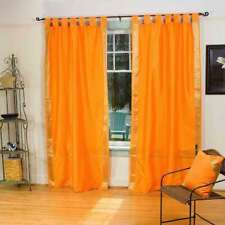 Pumpkin  Tab Top  Sheer Sari Curtain / Drape / Panel  - Pair
