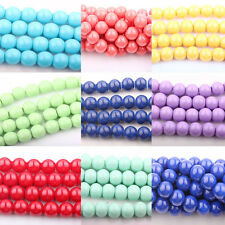 Lots 20/50Pcs Czech Opaque Coated Glass Pearl Round Jewelry Bead DIY 8mm Finding