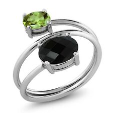 2.12 Ct Oval Checkerboard Black Onyx Green Peridot 925 Sterling Silver Open Ring