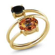 2.08 Ct Oval Ecstasy Mystic Topaz Black Onyx 18K Yellow Gold Plated Silver Ring