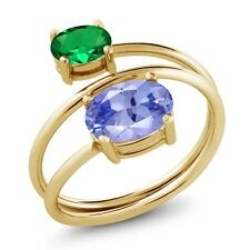 1.96 Ct Tanzanite Green Simulated Emerald 18K Yellow Gold Plated Silver Ring